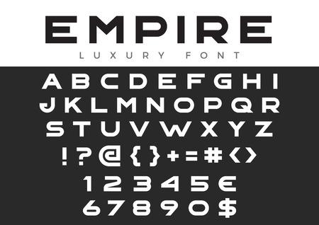 크리 에이 티브 디자인 제목, 머리글, 글자, 로고, 모노그램에 대 한 벡터 선형 글꼴. 기업 비즈니스 고급 기술 서체. 문자, 숫자 라인 아트 스타일