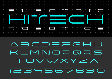 Futuristische vector Lettertype ontwerp. Digital Virtual Reality Technology-lettertype. Letters en cijfers voor computers, Dron Robot Hi-tech thema's