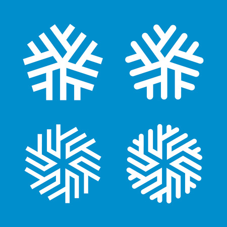 Snowflakes vector design templates. Merry Christmas and Happy New Year decoration symbols