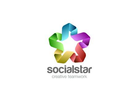 Social Teamwork Star Union Logo design vector template. Friendship Partnership Co-working Logotype concept Ribbon icon Stock Vector - 89175749