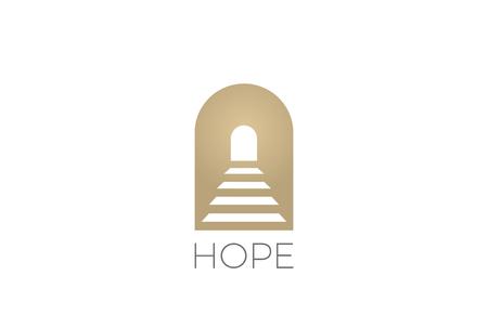 Treppe in der Torbogen Religion Logo-Zusammenfassungsdesign-Vektorschablone. Hoffen Sie Logo-Konzeptikone Negative Raumart Standard-Bild - 89175751