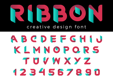 Creative Design vector Font of Ribbon for Title, Header, Lettering, Logo.  Corporate Business  Technology Typeface. Colorful Letters and Numbers