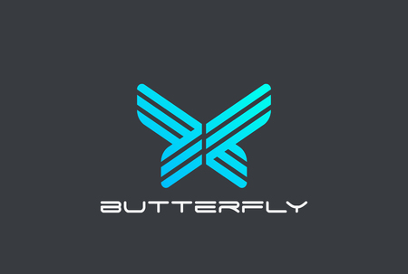 Butterfly abstract Logo design vector template Linear style.  Technology hi-tech sci-fi business Logotype concept icon