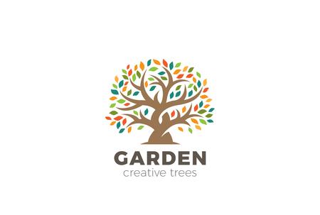 Garden Tree abstract Logo design vector template Ilustracja