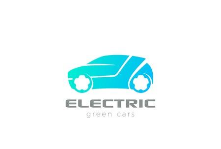 Electric Car silhouette emblem eco design vector template