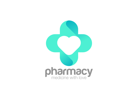 Pharmacy Medical Clinic Cross emblem design vector template with Heart inside