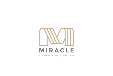 Letter M ribbon design abstract template Linear style Illustration