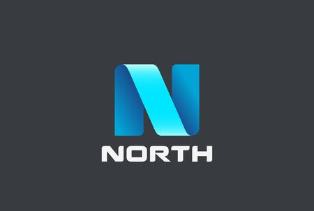 Letter N Logo ribbon design abstract vector template Illustration