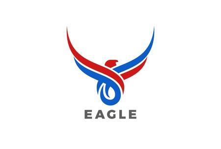 鷲鳥の翼は、シルエットのロゴ デザイン ベクトル テンプレートを抽象化します。マスコット タトゥー ロゴ アイコン