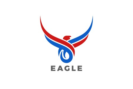 Eagle Bird Wings abstract silhouette Logo design vector template. Mascot tattoo Logotype icon