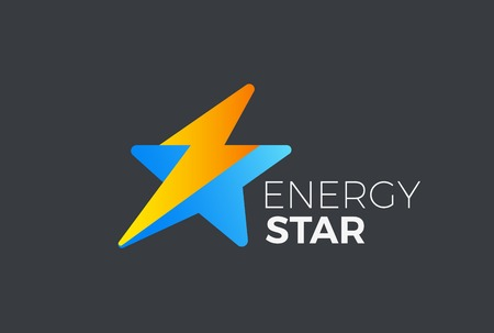 Star Flash Thunderbolt Logo abstract design vector template. Fast Speed Energy Leader Logotype concept icon symbol