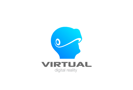 VR Logo design vector template negative space. Man Head with Virtual Reality glasses helmet Logotype icon