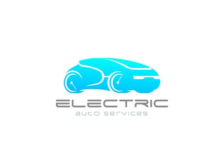 Electric Car Auto Logo design vector template.  Green Eco Vehicle alternative power Logotype concept icon