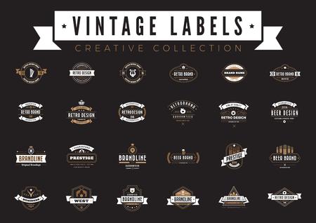 collection vintage étiquettes logo collection de café. collection de boulangerie de bière de style rétro restaurant badges avec des rubans rubans et des icônes