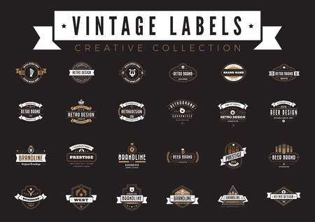Vintage Labels Logo collection vector design templates. Coffee Beer Bakery Sale Badges Retro style with elements ribbons and icons