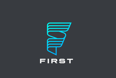 Letter F Logo ribbon design abstract vector template Linear style. Sci-fi Hitech Technology neon Logotype