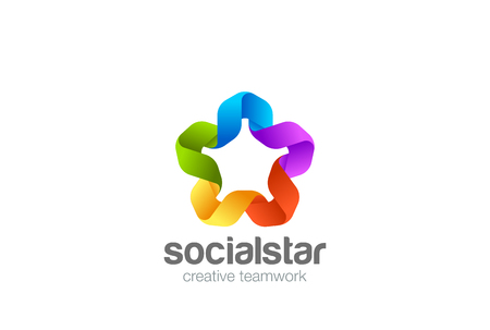 Social Teamwork Star Union Logo design vector template.  Friendship Partnership Co-working Logotype concept Ribbon icon Иллюстрация