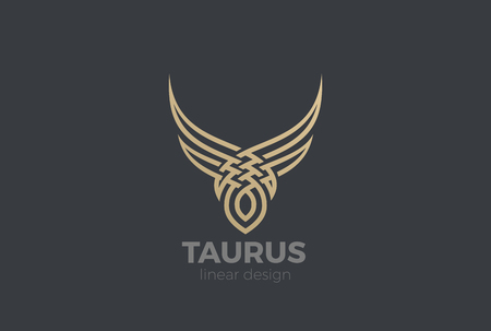 Bull Taurus abstract silhouette Logo design vector template Linear style. Golden Steak house Logotype icon
