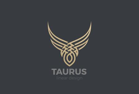 Bull Taurus abstract silhouette Logo design vector template Linear style. Golden Steak house Logotype icon