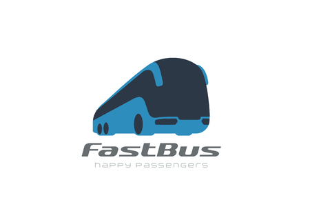 Bus passengers transportation vehicle Logo design vector template. Futuristic auto car Logotype concept icon Vettoriali
