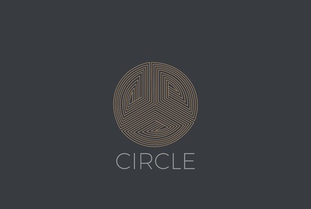 Gold Circle luxury fashion infinity Loop Logo design abstract vector template linear style