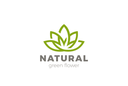 Flower Lotus abstract Logo design vector template. Green Natural Luxury Fashion Logotype. Yoga Health icon