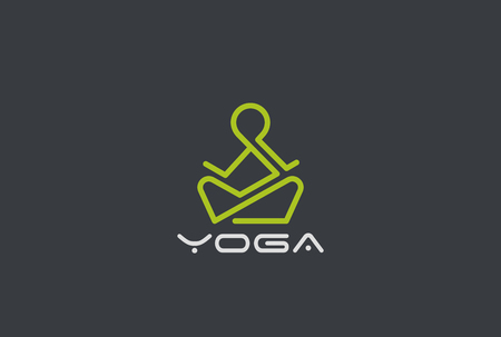Yoga Logo design vector template Linear style. Man sitting in Lotus pose in zen harmony. Health Fitness Logotype concept icon