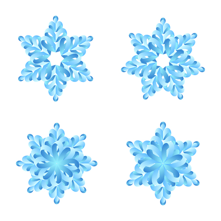 Snowflakes paper origami vector design collection. Merry Christmas and Happy New Year decoration elements Illustration
