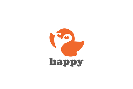Happy Flying Owl Logo design vector template Negative space style. Funny  bird abstract Logotype concept icon