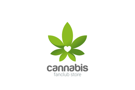 Cannabis laisse plante magasin logo design template vecteur Banque d'images - 93119555