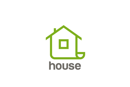 Green Eco House Logo abstract design vector template Linear style. Real Estate company Logotype concept icon