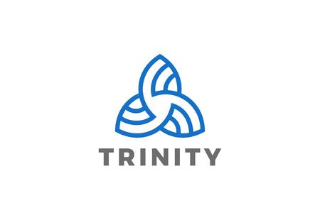 Trinity driehoek abstracte vorm Logo ontwerp vector sjabloon Lineaire stijl. Zakelijke technologie Logotype concept pictogram Stock Illustratie