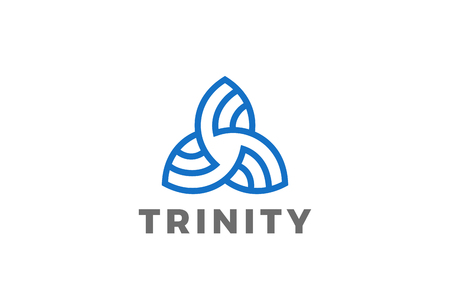 Trinity Triangle abstract shape Logo design vector template Linear style. Business Technology Logotype concept icon Иллюстрация
