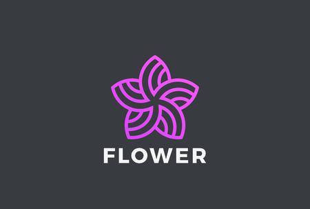 フラワー5点 星抽象的な形状 ロゴデザインベクトルテンプレート リニアスタイル。ガーデンビューティーファッションサロン ロゴタイプコンセプト