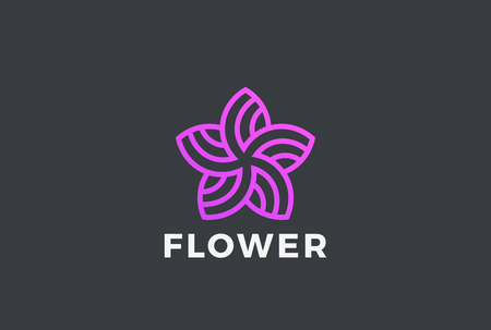Flower 5 point Star abstract shape Logo design vector template Linear style. Garden Beauty Fashion Salon Logotype concept icon  イラスト・ベクター素材