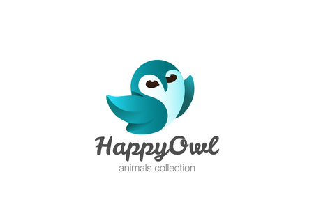 Happy Flying Owl Logo design vector template. Funny  bird abstract Logotype concept icon