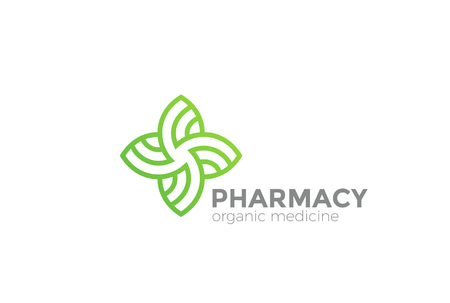 Pharmacy Organic Natural Medicine Cross Logo design vector template Linear style