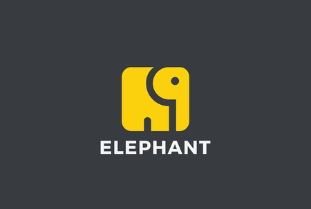 Elephant square shape Logo abstract design vector template. Animal Logotype concept icon