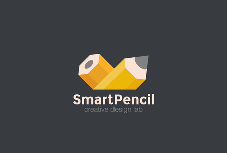 Pencil Logo abstract vector template. Creative Art Design Studio Logotype concept