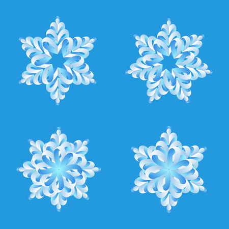 Snowflakes origami vector design collection. Merry Christmas and Happy New Year decoration elements