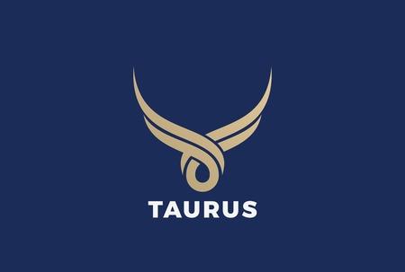 Bull Taurus abstract silhouet Logo vector ontwerpsjabloon. Gouden steak huis slagerij vlees winkel logo pictogram