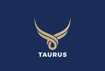 Bull Taurus abstract silhouette Logo design vector template. Golden Steak house butchery meat store Logotype icon