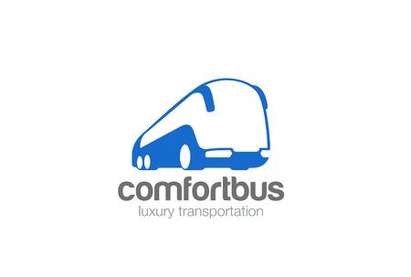 Bus passengers transportation vehicle Logo design vector template negative space style. Futuristic auto car Logotype concept icon Иллюстрация