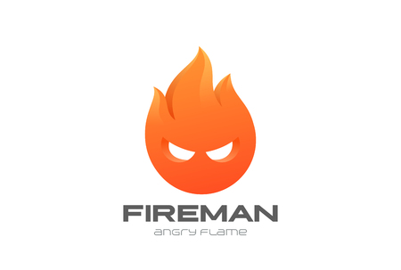 Fire Man Flame circle abstract Logo design vector template. Fireman Logotype Game icon