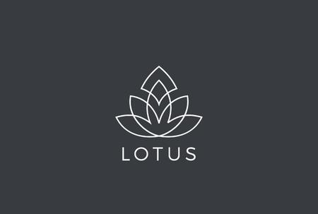 Lotus flower Luxury Logo design vector template Linear style. Fashion Health Fitness Garden Logotype concept icon
