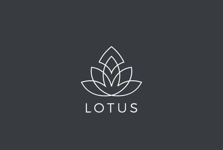 Lotus flower Luxury Logo design vector template Linear style. Fashion Health Fitness Garden Logotype concept icon