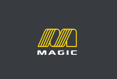 文字 M ロゴ リボン デザイン 抽象ベクトル テンプレート 線形スタイル  イラスト・ベクター素材