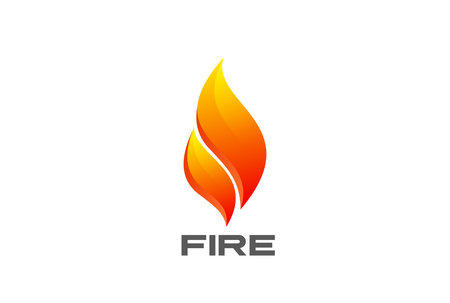 Fire Flame abstract Logo design vector template. Burn flaming campfire Logotype concept icon