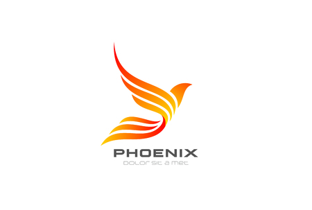 Flying Phoenix Fire Bird abstract Logo design vector template. Dove Eagle Logotype concept icon