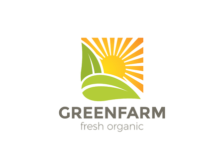 Green Natural Organic Farm symbol design vector template. Sun over Leaves symbol square shape icon Illustration